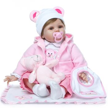 "22"" Beautiful Simulation Baby Girl Reborn Baby Doll in Bear Dress"