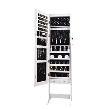 Full Mirror Makeup Mirror Cabinet 2 Drawers 5 Layers Storage Cabinet Solid Wood Pattern Covered I-Shaped Base Floor Jewelry   Mirror Cabinet White (Including Led)