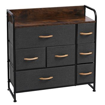 Drawer Dresser(Gray) Dresser Organizer with 7 Drawers, Fabric Dresser Storage Tower for Bedroom, Hallway, Entryway, Closets, Sturdy Steel Frame, Wood Top & Handles
