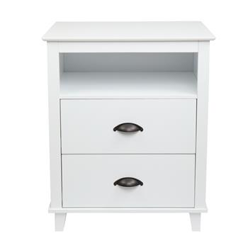 FCH 2-Drawer End Table Nightstand with Storage White