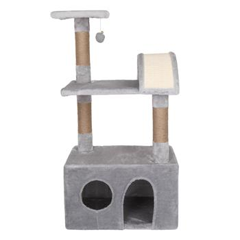 """HOBBYZOO 39"""" Cat Tree Tower with Plush Condos, Scratching Post, Toy, Light Grey"""