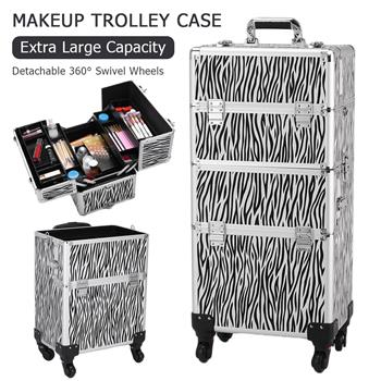 3 in 1 Aluminum Cosmetic Makeup Case Tattoo Box White Zebra Print