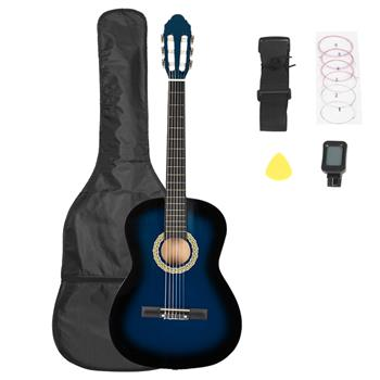 38 inch Classic Guitar with Bag & Board &Belt & Liquid Crystal Tuner & Strings Set Blue