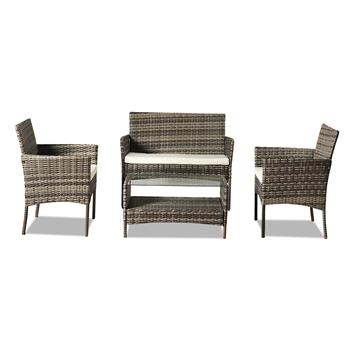 OSHION Outdoor Leisure Rattan Furniture Four-piece Set Double Coffee Table - Grey