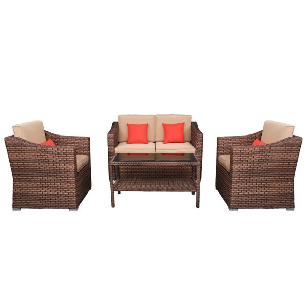 Wide Rattan   Double Contiguous Rattan Four-Piece Suit 1 Double 2 Single 1 Double Coffee Table Box 1 (Total Two   Boxes) Brown