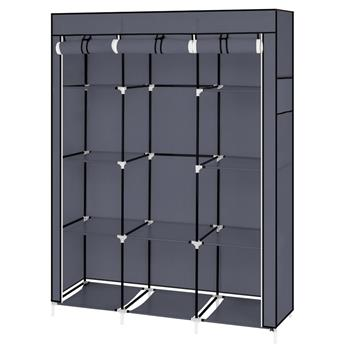"67"" Portable Closet Organizer Wardrobe Storage Organizer with 10 Shelves Quick and Easy to Assemble Extra Space Gray"