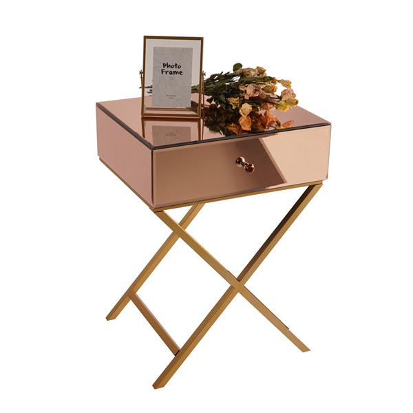 1 drawer mirrored side table - Rose
