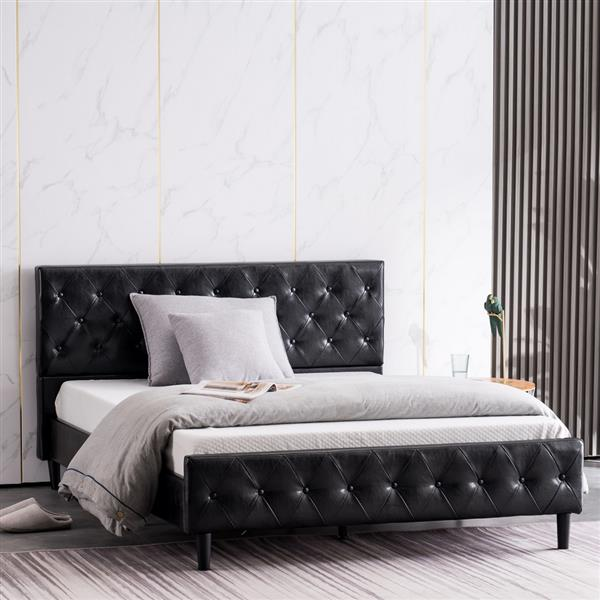Button Decoration PU Iron Bed Black Twin
