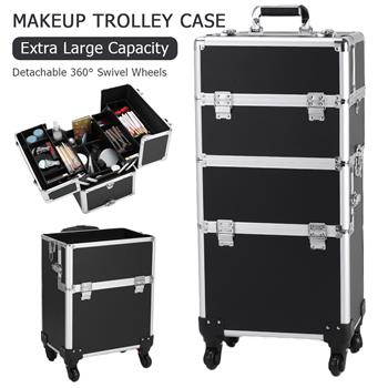 3 in 1 Aluminum Cosmetic Makeup Case Tattoo Box Black