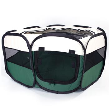 """HOBBYZOO 36"""" Portable Foldable 600D Oxford Cloth & Mesh Pet Playpen Fence with Eight Panels Green"""