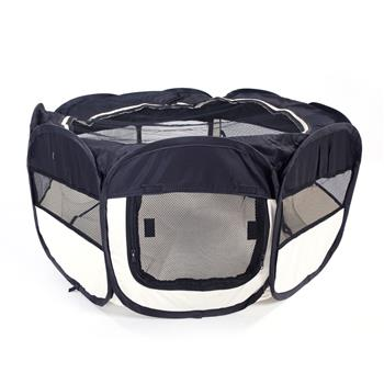 """HOBBYZOO 36"""" Portable Foldable 600D Oxford Cloth & Mesh Pet Playpen Fence with Eight Panels Black"""
