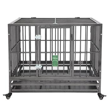 "36"" Heavy Duty Dog Cage Crate Kennel Metal Pet Playpen Portable with Tray Silver"