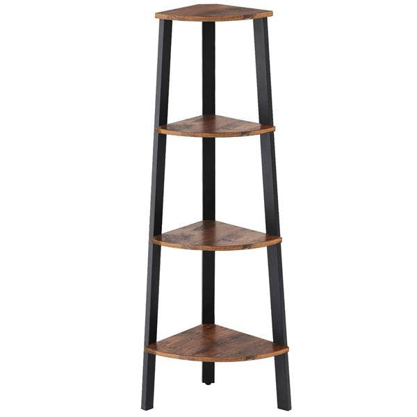 Corner Shelf, 4-Tier Bookshelf, Plant Stand, Wood Look Accent Bookcase Furniture with Metal Frame, for Home and Office, Rustic Brown