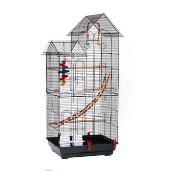 """46"""" Bird Cage Pet Supplies Metal Cage with three Additional Toys Black"""