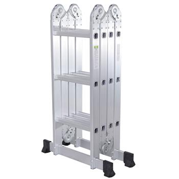 Practical 12-Step Joints Aluminum Folding Ladder Silver(Do Not Sell on Amazon)
