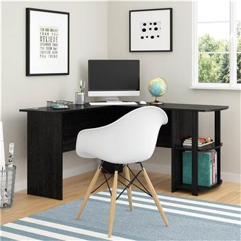 FCH L-Shaped Wood Right-angle Computer Desk with Two-layer Bookshelves Black