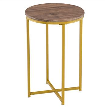 [40.5 x 40.5 x 61]cm Simple Cross Foot Single Layer Wood Grain Round Edge Several 40.5 Round Gold