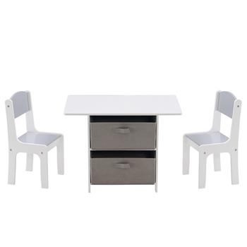 [71 x 48 x 49.5]cm MDF Children's Table and Chair Set of 3 with Drawers, 1 Table and 2 Chairs White