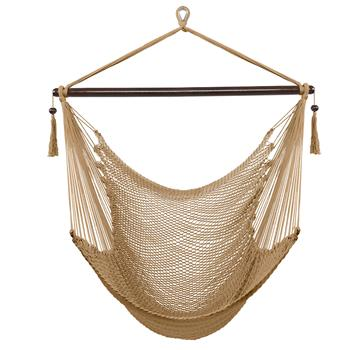 Caribbean Large Hammock Chair Swing Seat Hanging Chair with Tassels Coffee