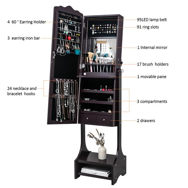 Non Full Mirror Wooden Floor Standing 3-Layer Shelf With Inner Mirror 2 Drawers 17 Cosmetic Brush Holders With Panel 95 Warm Led Lamp With Jewelry Storage Adjustable Mirror Cabinet - Dark Brown