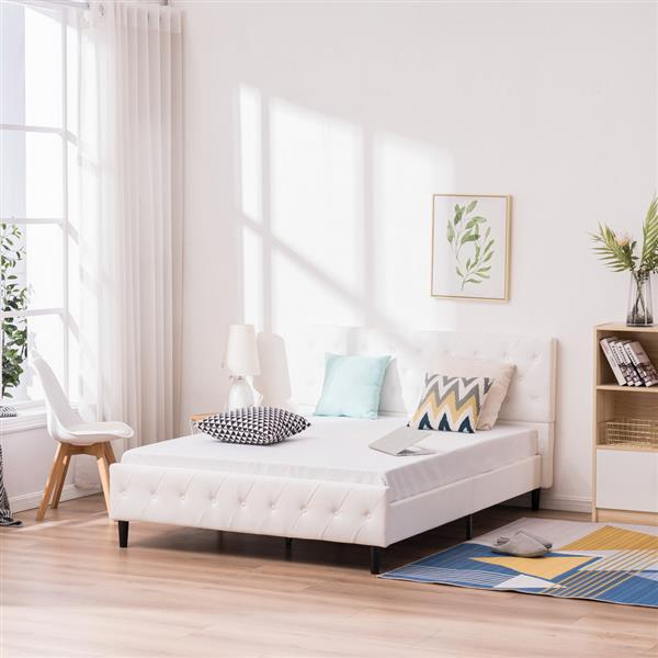 Button Decoration PU Iron Bed White Twin