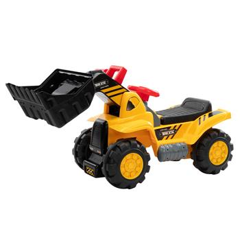 LEADZM Children's Bulldozer Toy Car without Power   Two Plastic Simulation Stones and A Hat