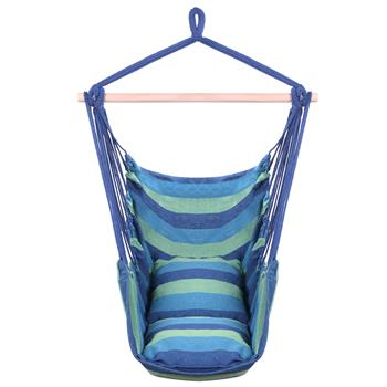 Distinctive Cotton Canvas Hanging Rope Chair with Pillows Blue
