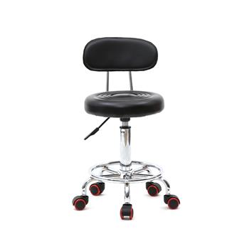 Round Shape Adjustable Salon Stool with Back and Line Black