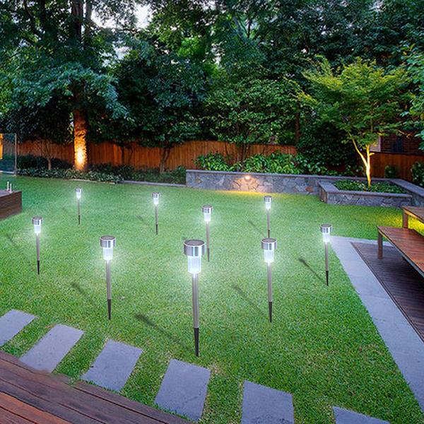 Ktaxon Garden LED Lamp 24pcs 5W High Brightness Solar Power Lawn Lamps with Lampshades (White & Silver)