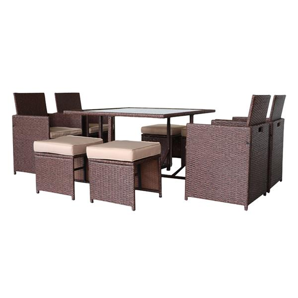 9 Pieces Wood Grain PE Wicker Rattan Dining Ottoman with Tempered Glass Table Patio Furniture Set (Carton 1)