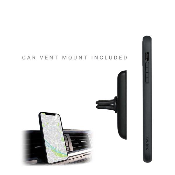 Evutec Case for iPhone 11 Karbon Unique Hard Smooth Heavy-Duty Phone Case Real Aramid Fiber Strong Protective Slim 1.6mm (with car vent mount)