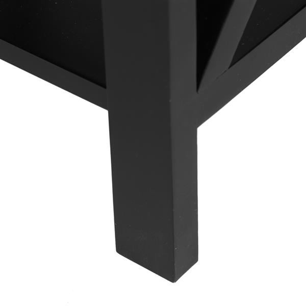 Black Spray Paint Cross Type Single Suction Double Layer Nightstand [40x30x55cm]