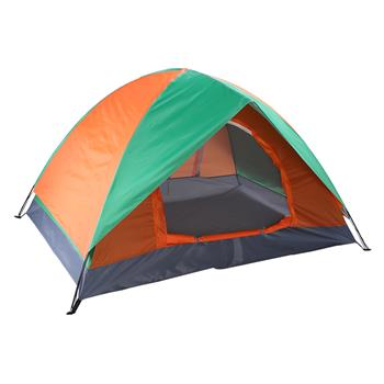 2-Person Double Door Camping Dome Tent Orange & Green
