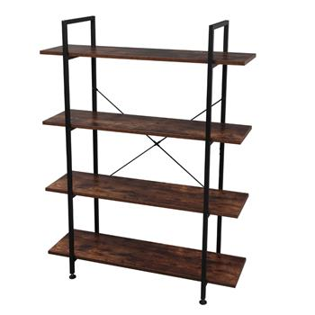 4-Tier Industrial Bookcase and Book Shelves, Vintage Wood and Metal Bookshelves, Retro Brown