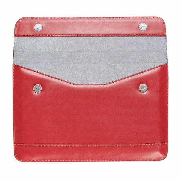 LENTION Split Leather Sleeve Magnetic Snaps Case Bag, Soft Touch, Compatible with 15-inch Slim Laptops (Red)