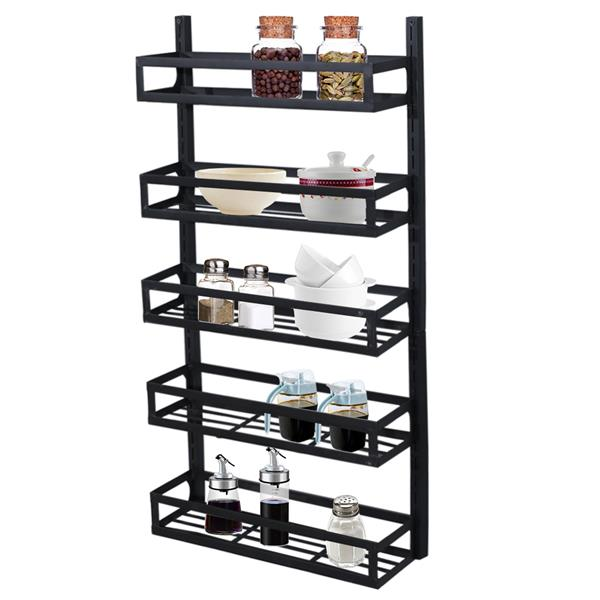 Wall Mount Spice Rack Organizer 5 Tier Height-Adjustable Hanging Spice Shelf