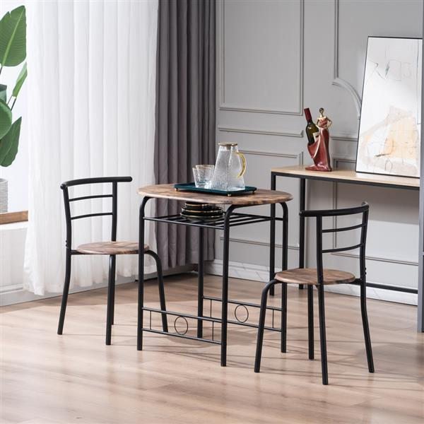 Fire Wood PVC Black Paint Breakfast Table for Couples with Curved Back (One Table and Two Chairs) (80x53x76cm)