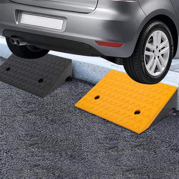 """2PCS Rubber Car Curb Ramps, 5"""" Rise Portable Lightweight Threshold Ramp Set Heavy Duty Loading Ramp Slope Motorcycle Pad for Driveway, Sidewalk, Loading Dock"""