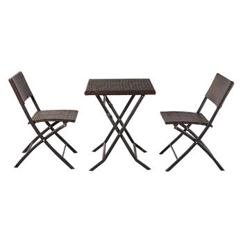 Oshion Folding Rattan Chair Three-Piece Square Table-Brown