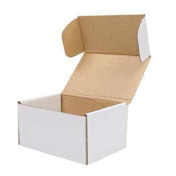 """50 Corrugated Paper Boxes 6x4x3""""(15.2*10*7.6cm) White Outside and Yellow Inside"""