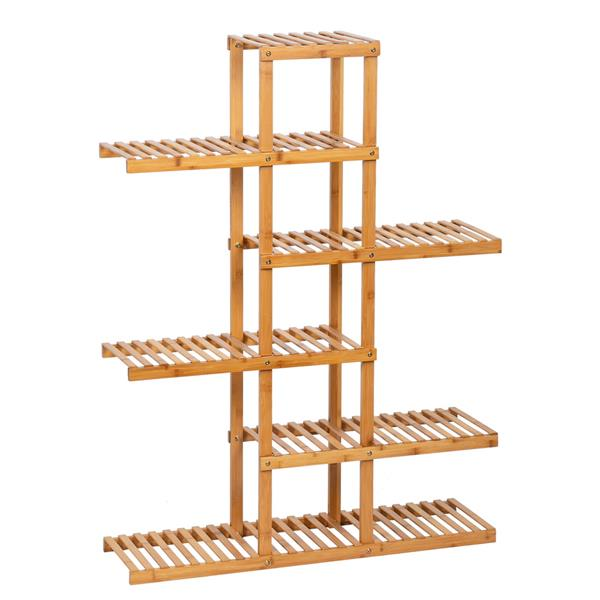 100% Bamboo Plant Frame Multi-Storey, Balcony Bamboo Frame Flower Frame Indoor Office Balcony Living Room Outdoor Garden Decoration 6 Floors 12 Seats---Natural