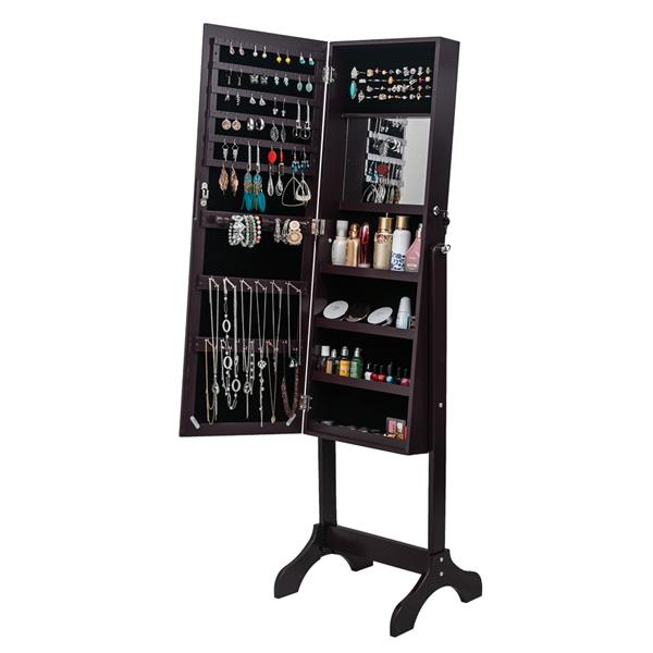 Full Mirror Wooden Floor Standing 4-Layer Shelf With Inner Mirror Jewelry Storage Adjustable Mirror Cabinet - Dark Brown