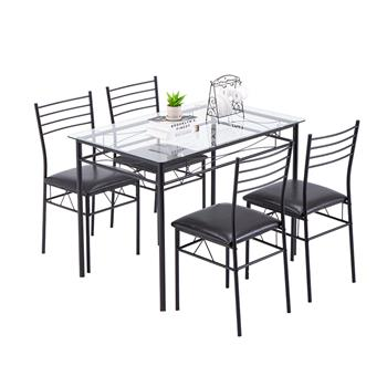 [110 x 70 x 76cm] Iron Glass Dining Table and Chairs Black One Table and Four Chairs PU Cushion