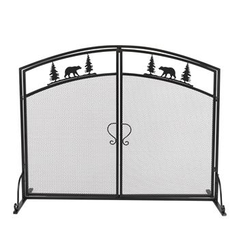 Double-door Curved Christmas Tree Decoration Fireplace Screen (99 x 34.5 x 79)cm