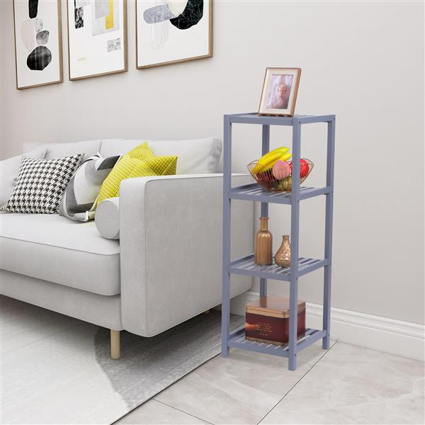 100% Bamboo Bathroom Shelf 4-Tier Multifunctional Storage Rack Shelving Unit 33 X 33 X 98cm-Grey