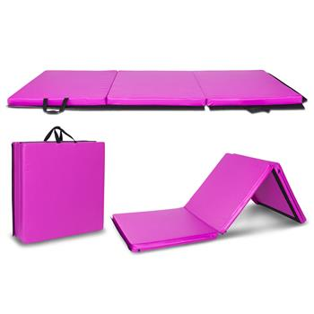"6'x2'x2"" Tri-fold Gymnastics Yoga Mat with Hand Buckle Purple"