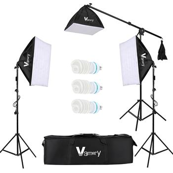Kshioe 220V 65W Photo Studio Photography 3 Soft Box Light Stand Continuous Lighting Kit Diffuser UK Standard