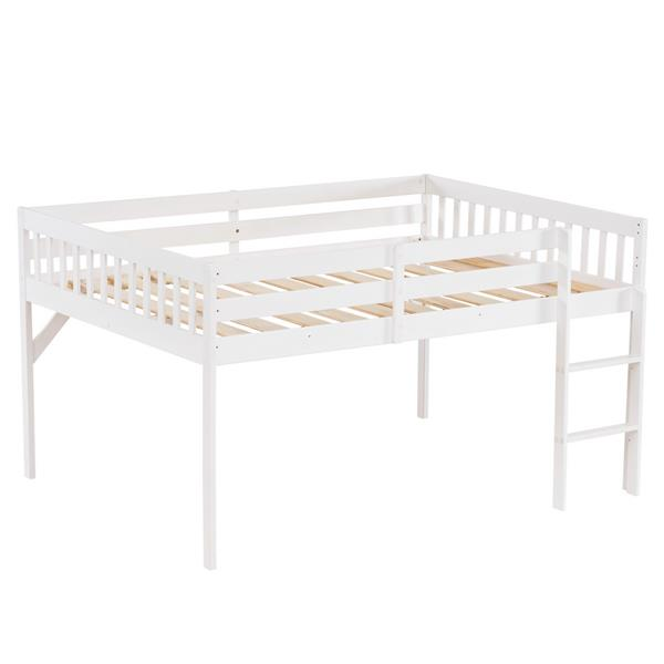 """Children's Pine Elevated Bed Vertical Version Straight Bedside 43 """"H Twin White"""