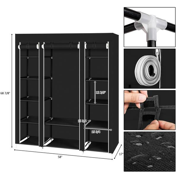 "69"" Portable Clothes Closet Wardrobe Storage Organizer with Non-Woven Fabric Quick and Easy to Assemble Extra Strong and Durable Black"