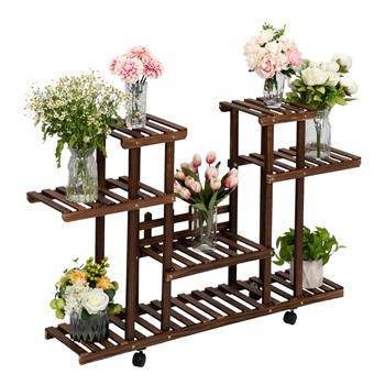 Artisasset 4-Layer 12-Seater Indoor And Outdoor Multifunctional Carbonized Color Wheel Wooden Plant Stand